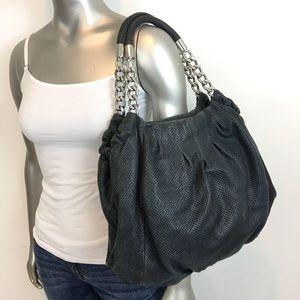 MICHAEL KORS Python Embossed Leather Gray Black Handbag